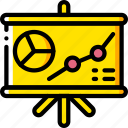 board, business, graph, presentation, yellow icon