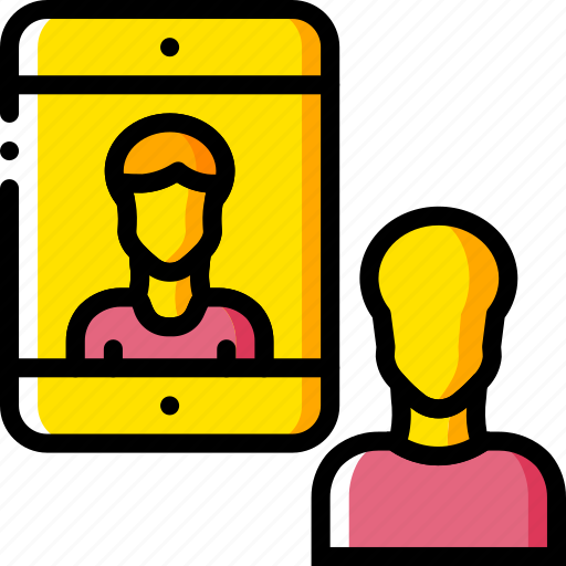 business, chat, ipad, messaging, mobile, yellow icon