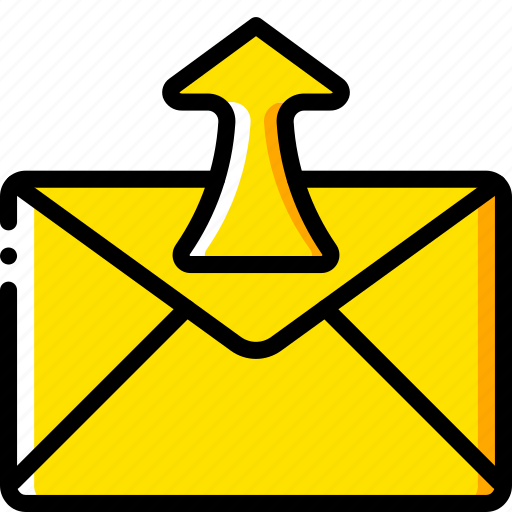 business, email, mail, out, sent, yellow icon