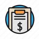 bank, business, finance, list, money, office icon