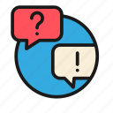 bank, business, finance, money, office, question, speak icon