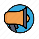bank, business, finance, megaphone, money, office, speak icon