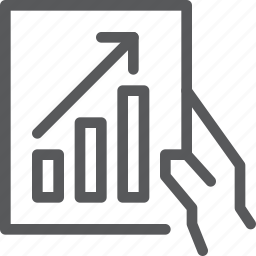 analytics, business, chart, graph, hand, statistics, stock icon