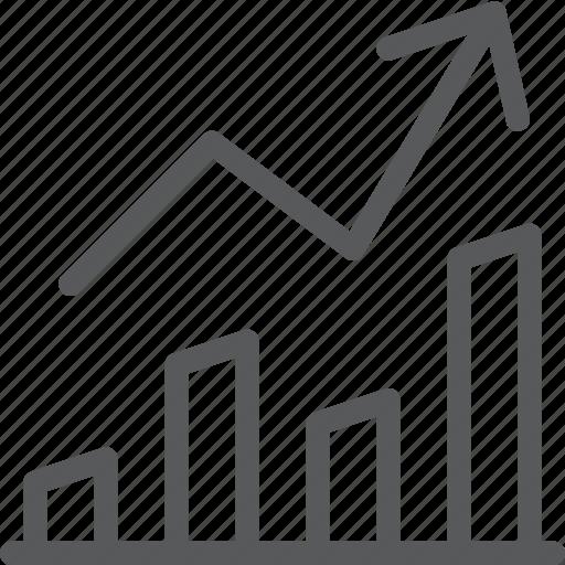 analytics, arrow, business, chart, graph, statistics, stock icon