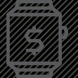 app, business, cash, dollar, money, shopping, smart, watch icon