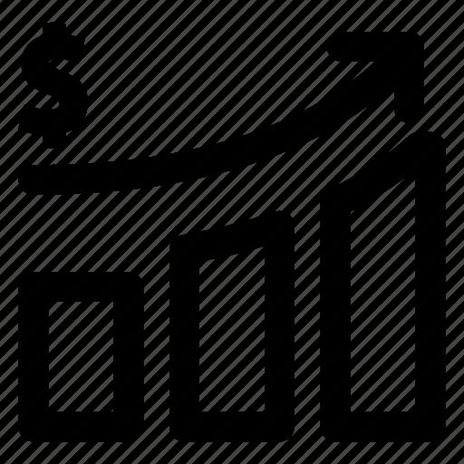 development, growth, histogram, ipo, revenue icon