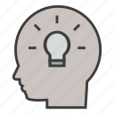 brain, brainstorm, business, creative, head, idea, think icon