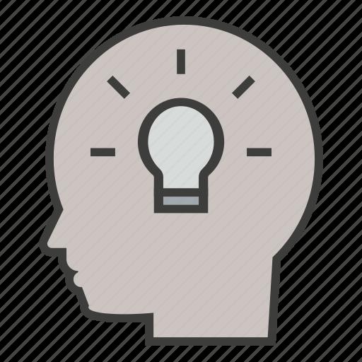 brain, brainstorm, business, creative, head, idea, think icon