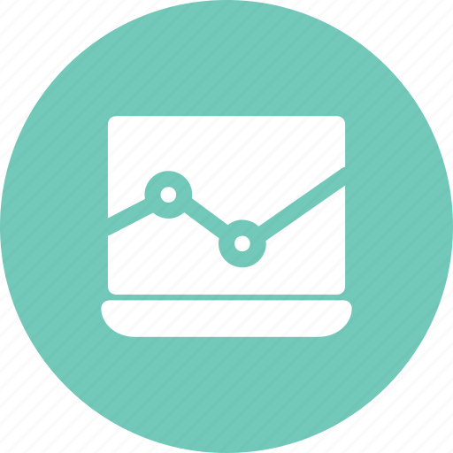analysis, analytics, chart, data, laptop, statistics icon
