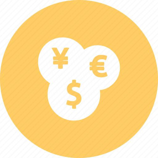 coins, currencies, currency, euro, money, usd, yen icon