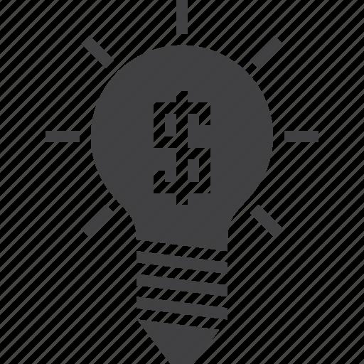bulb, business, idea, money icon
