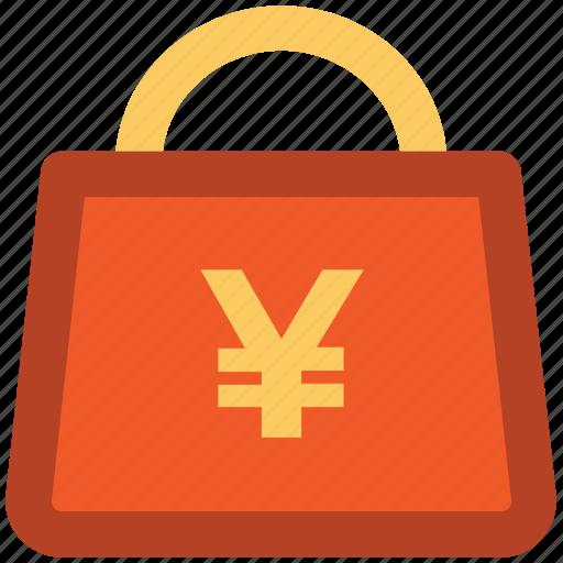 shopper bag, shopping bag, tote bag, yen sign, yen tote icon