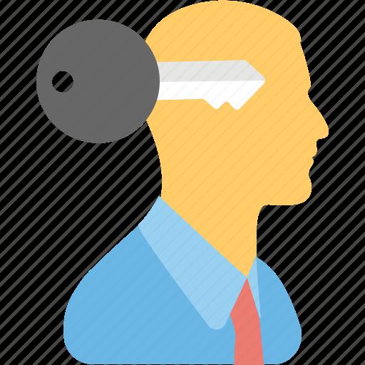 expert, focused, genius, intellectual, key mind icon