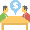business conversation, business deal, business meeting, business partnership, financial chat icon
