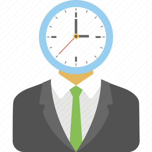 anxious businessman, busy, deadline, late, work time icon