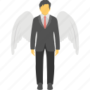 angel investor, business angel, businessman wings, contented businessman, superhero icon