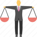 businessman scale, earning balance, equality, financial decision, senior businessman icon