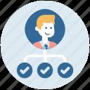 collaboration, employess, leader, manager, organization icon