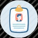 clipboard, cv, job application, job profile, resume icon