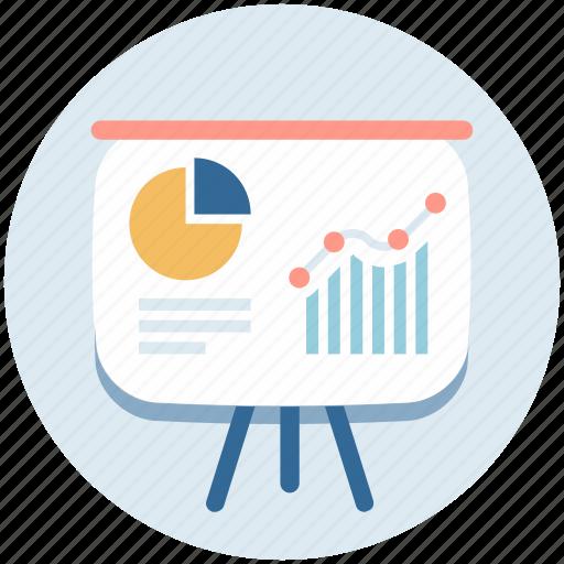 business analysis, business graph, chalkboard, graph presentation, presentation board icon