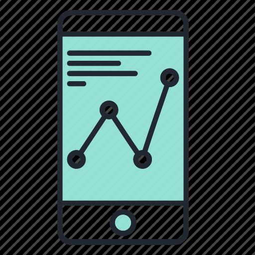 analytics, business, chart, marketing, phone icon
