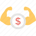 dollar biceps, economical power, financial power, money power, money strength icon