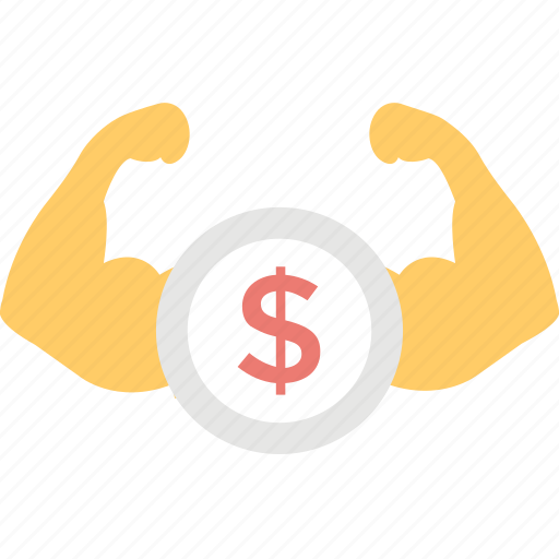 dollar biceps, economical power, financial power, money power, money strength icon
