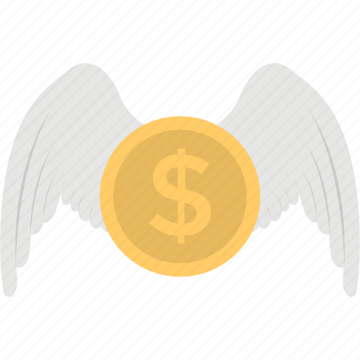 angel investment, earning, flying dollar, investment, money wings icon