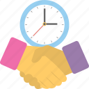 business deal, business handshake, business partners, clock handshake, time is money icon