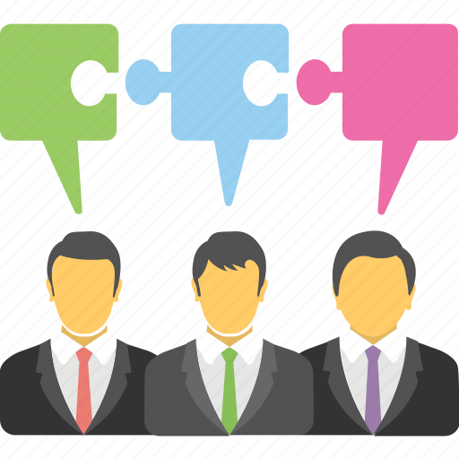 business people, collaborative learning, group work, people with jigsaw, project work icon
