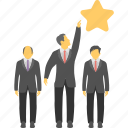 business rating, business star, businesspeople, group business, star employee icon