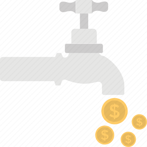 business growth, business income, cash flow, money flows, money tap icon