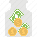 creative money, marketing budget, money counting, money jar, money saving icon