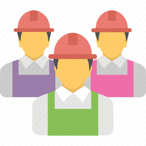 construction team, engineer, labour, technicians, worker icon