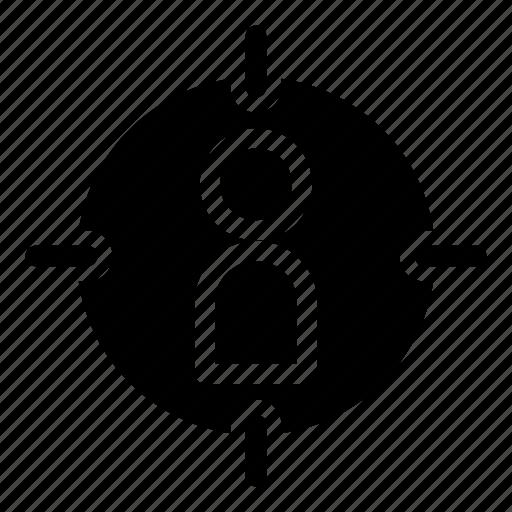 aim, human, human resources, scope, target icon