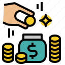 coins, financial, money, saving icon