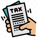document, finance, paid, report, tax icon