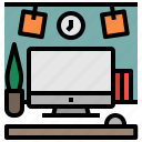 desktop, office, stationery, workspace icon