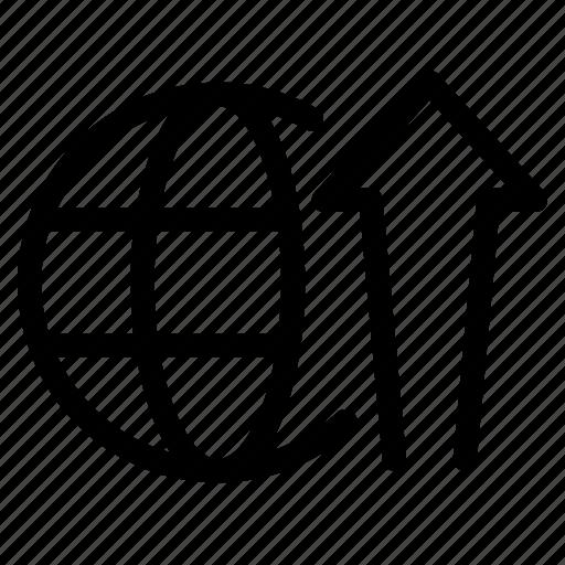 arrow, global, money, profits, seo, wrldwide icon