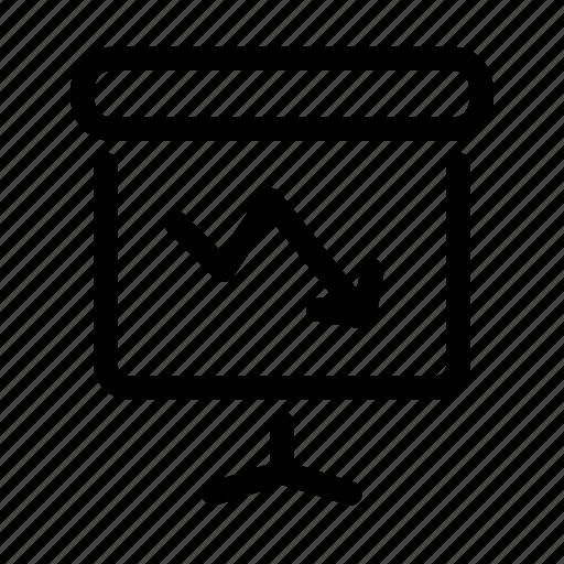 arrow, crash, downward, graph, loss, presentation icon