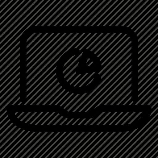 analytics, chart, computer, laptop, pie, seo icon