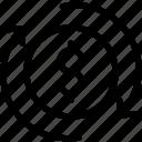 coin, dollar, money, reload, shopping icon