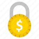 dollar, lock, money, protection, secure icon