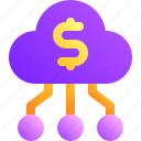 business, cloud, money, transfer, upload icon