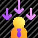 arrow, business, businessman, decrease, down