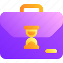 briefcase, business, hourglass, time, work