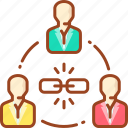 business, link, management, social, team, team work icon
