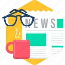 drink, media, morning, news, newspaper, spects, tea icon