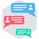 discussion, feedback, livechat, message, response, comment, conversation