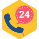call, duration, hotline, hours, phone, time, twenty four icon
